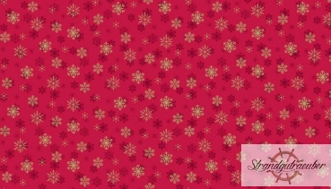 Patchworkstoff - Metallic Snowflake red 1937C - Makower UK
